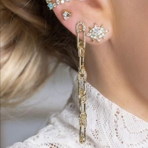 Melinda Maria Pave BABY SAFETY PIN 5 DROP EARRINGS